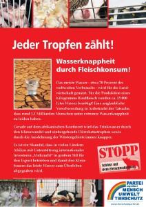 "Plakat ""Wasserknappheit wegen Fleisch"""