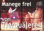 """Zirkus-Plakat mit Tiger und Löwen sowie Slogan """"Manege frei von Tierquälerei!"""""""
