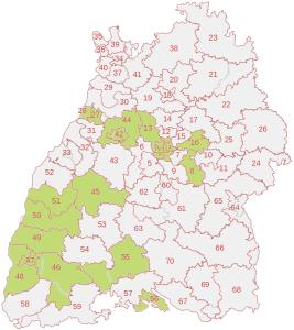 Die Wahlkreise, in denen wir zur Landtagswahl 2016 in Ba-Wü antreten
