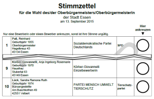 Ein Muster des Stimmzettels zur OB-Wahl in Essen 2015 (verkürzt, für Komplettversion klicken)