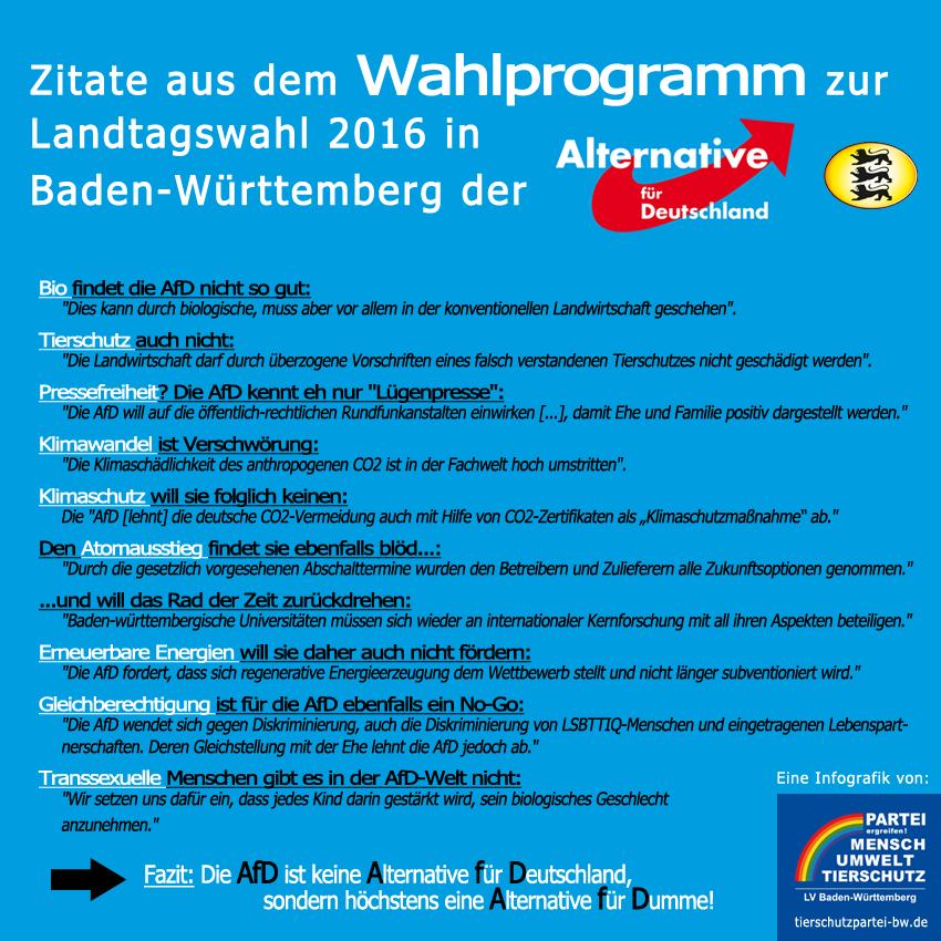 Infografik zu den Forderungen der AfD zur LTW in Ba-Wü 2016
