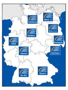 Die Bundesländer, in denen wir zur Bundestagswahl 2017 zugelassen wurden
