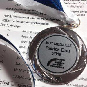Die MUT-Medaille 2016 für Patrick Dau