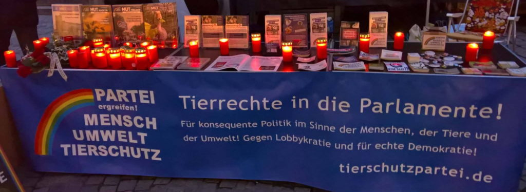 Infostand gegen Tierversuche Holzmarkt Tübingen