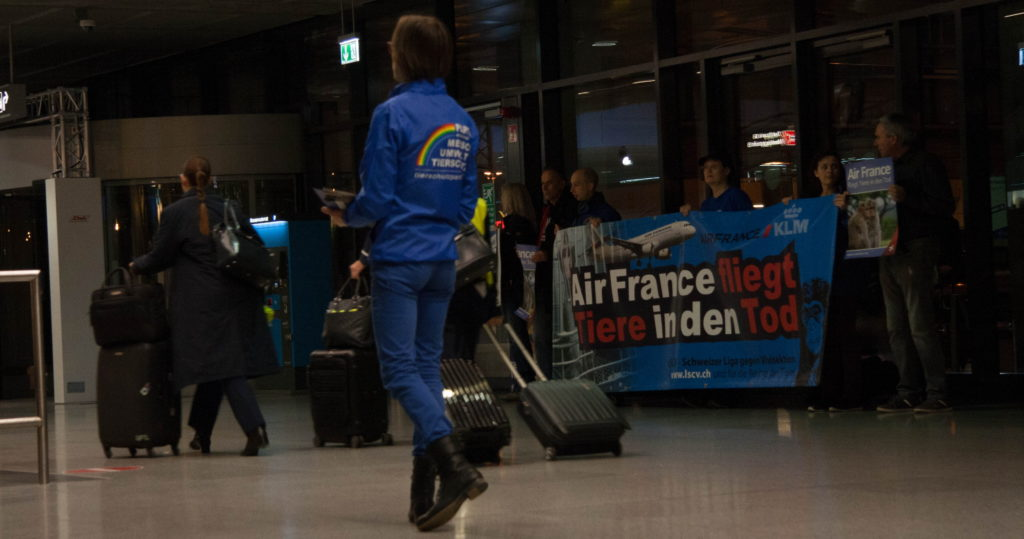 Demo Tierversuche Tiertransporte Air France Stuttgart Matthias Ebner