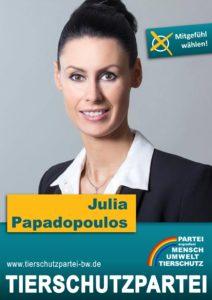 Das Wahlplakat von Julia Papadopoulos, unserer Spitzenkandidatin zur Gemeinderatswahl in Waiblingen