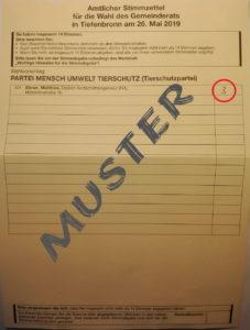 Muster-Stimmzettel Gemeinderatswahl Tiefenbronn