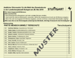 Muster-Stimmzettel Gemeinderatswahl Stuttgart 2019