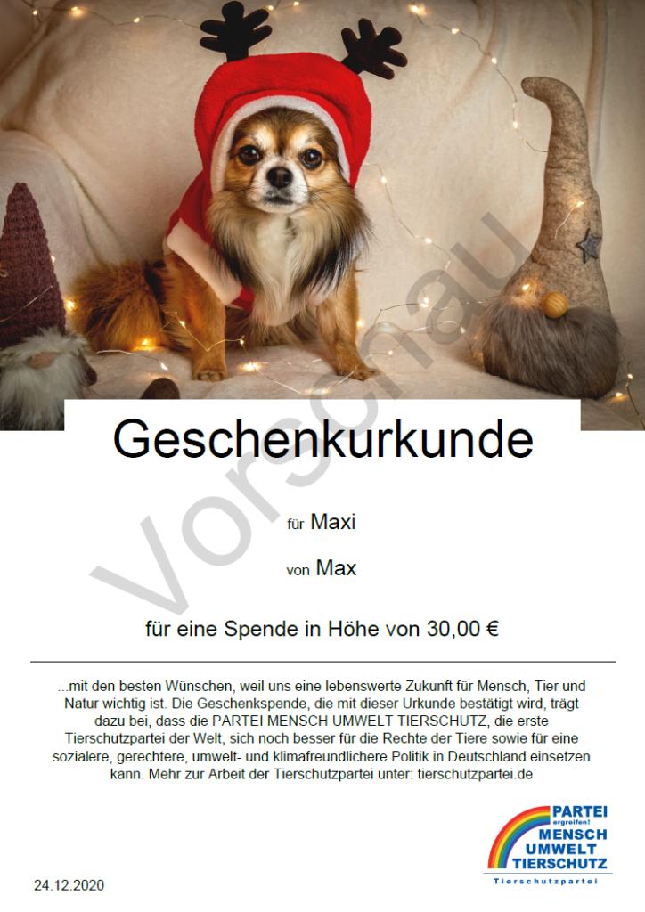 Geschenkspendenurkunde mit Hund