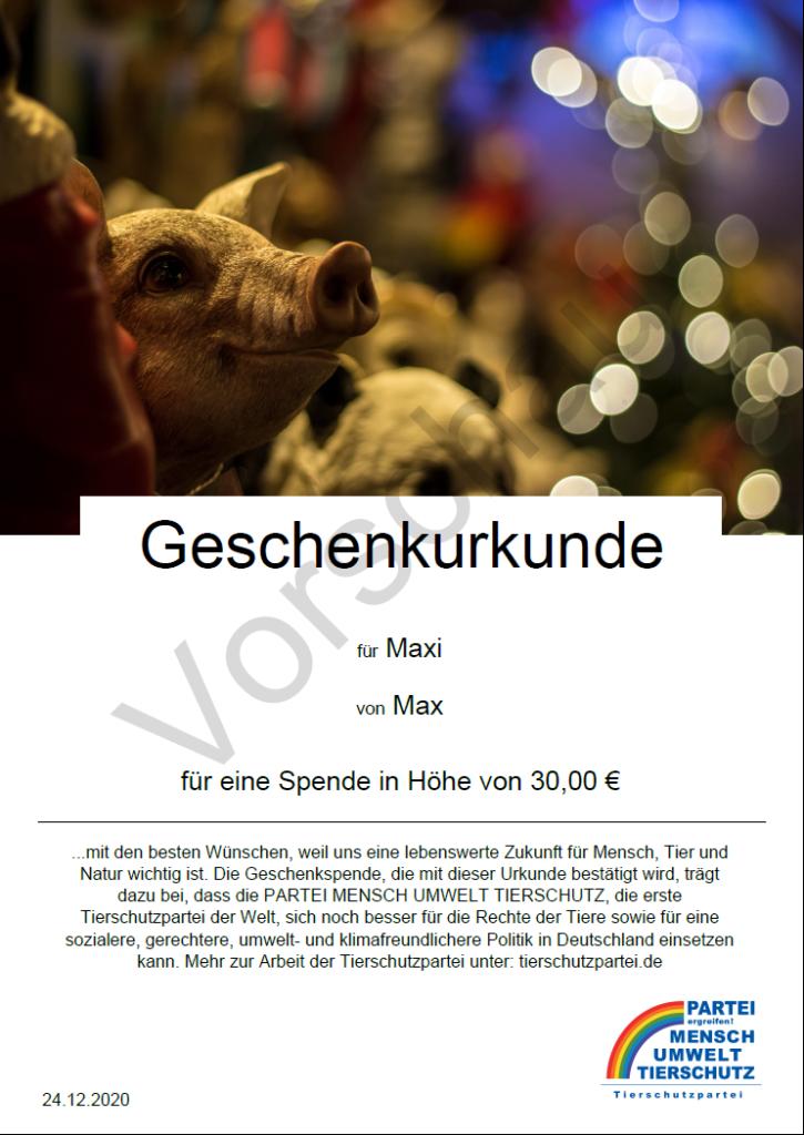 Geschenkspendenurkunde mit Weihnachtsschwein